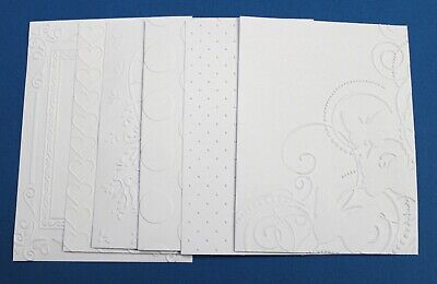6 x White Embossed Cardstock Card Toppers Frame Hearts Swiss Dots Butterfly