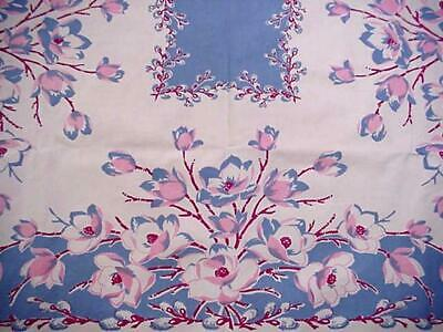 Vintage Southern MAGNOLIA Pussy Willow Large Printed FLORAL Blue Tablecloth