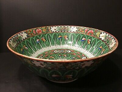 Antique Chinese Cabbage Flower Punch Bowl, late 19th Century