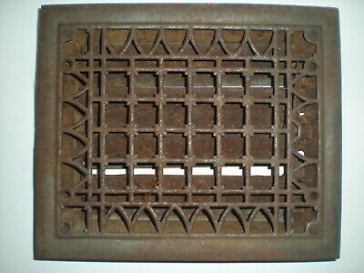 Vintage VICTORIAN Cast Iron Floor Grille Heat Grate Register Louvers aprox12 x10