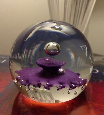 CAITHNESS Glass Paperweight ~Purple Controlled Bubbles ~Made in Scotland ~SIGNED