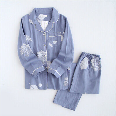 Korea Print Leaf Pajama Set Women 100% Gauze Cotton Long Sleeve Casual Sleepwear