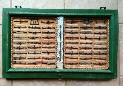 Antique Barbed Wire Display Collection 55 cuts Old Green Screen Frame