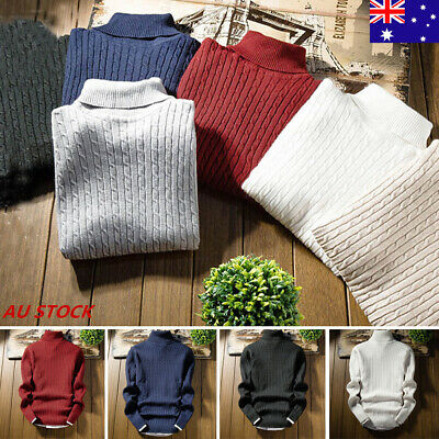 Mens Slim Thermal Turtle Neck Skivvy Turtleneck Cotton Sweaters Tops Stretch AU