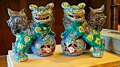 Beautiful old Porcelain Asian Oriental Foo Dog Temple Lions Te Ling Protectors