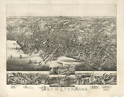 "HP  18"" x 24"" 1882 Map of Plymouth, Mass"