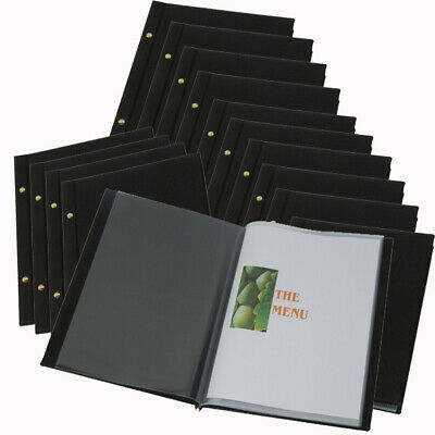 BULK PACK 15 Faux leather BLACK A4 MENU WITH 10 POCKETS FREE FREIGHT