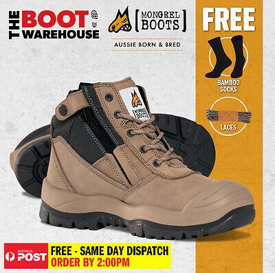Mongrel 461060 Work Boots Steel Toe Safety STONE Zip SCUFF CAP! Press Stud Clip!