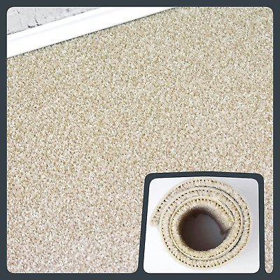 HARDWEARING 9mm Thick Cream Felt Back Twist Pile 5m Wide Carpet £6.99m²