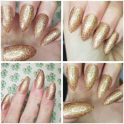 NEW! 'Goddess' Nude Golds Sparkly Holographic Glitter Nails STILETTO Shape x 20