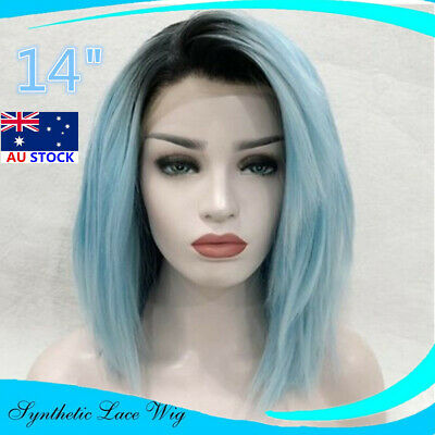 14'' Lace Front Wig Synthetic Fiber Hair Women Fashion Bright Blue Straight Wigs