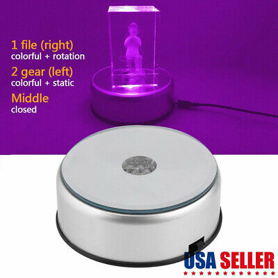 7-LED Rotating Crystal Display Base Stand Round Electric Light Holder Home Decor