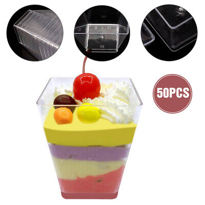 50PCS Plastic Square Dessert Cups Party Wedding 2oz / 60ml Cube Style Canapés UK