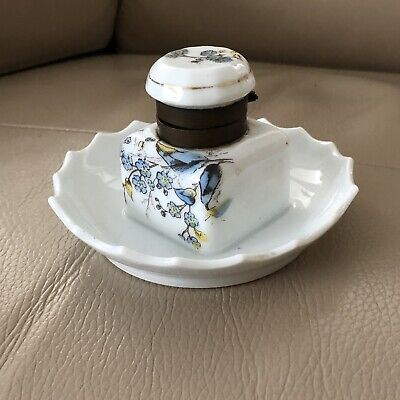 Antique Inkwell Ink Stand Ceramic Victorian Art Nouveau Altrohlau Bohemia 19th C
