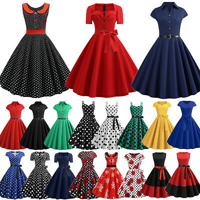 Womens Vintage Retro 50s 60s ROCKABILLY Evening Party Pin Up Swing Skater Dress