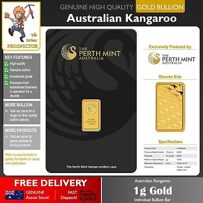 1g Gold Bullion Bar | Perth Mint | Minted 99.99% | Investment Grade | Free P&H!!