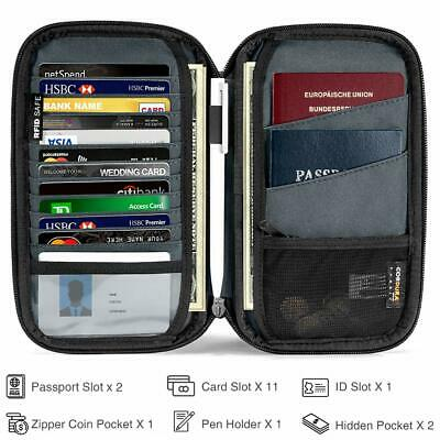 tomtoc Family Passport Holder RFID Blocking & Waterproof Travel Wallet