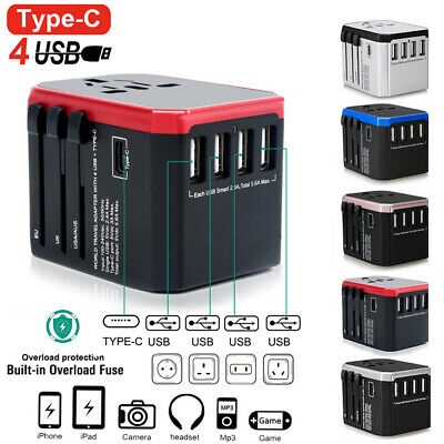 1-5Pcs USB Universal Travel Adapter Plug International Converter For UK AU US EU