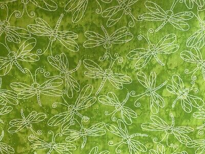 Green Blended FQ Fat Quarter Fabric Butterfly Dragonfly 100% Cotton Quilting