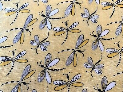 Yellow Glitter FQ Fat Quarter Fabric Butterfly Dragonfly 100% Cotton Quilting