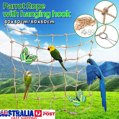 Pet Parrot Bird Climbing Cage Ladder Rope Net Jungle Swing Hammock Perch Toy AU