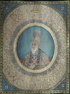 Handmade illuminated painting of Mughal emperor Bhadur shah zafar signed & dated