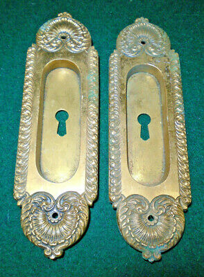 Pair Of Brass Eastlake Pocket Door Pulls: Very Nice Set  (12577)