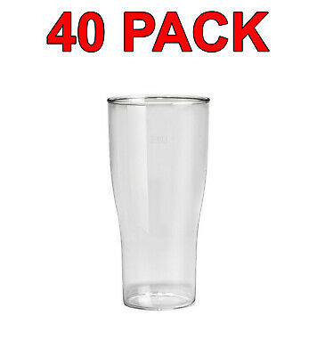 Eco-Friendly Reusable Plastic Beer Glass Glasses Party Catering 520ml 40 Pack