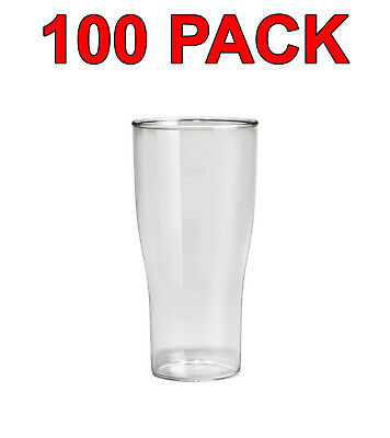 Eco-Friendly Reusable Plastic Beer Glass Glasses Party Catering 520ml 100 Pack