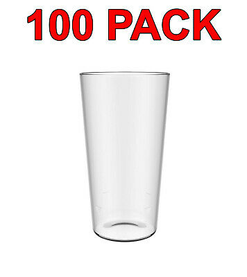 Eco-Friendly Reusable Plastic Pint Glass Beer Glasses Party Catering 600ml 100Pc