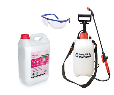 RHS Weed killer Glyphosate Free 5L with 5L Pump Sprayer and Safety Glasses