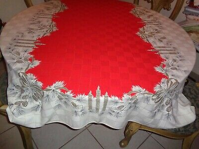 Vtg Christmas Mid Century Tablecloth Metallic Thread Candles Soft Fabric 58x80""