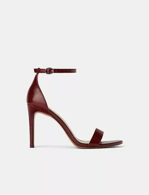 NWT ZARA LEATHER High Heeled Sandals Size 7.5 38 Ref 2910
