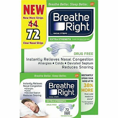 Breathe Right Extra 50% Stronger 72 Clear Nasal Strips Stop Snoring  Fastpost