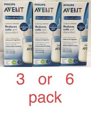 LOT 3 Or 6 PHILIPS AVENT ANTI-COLIC BABY BOTTLES REDUCE AIR GAS WIDE NECK 9 oz
