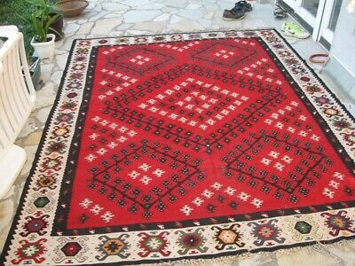 Antique Old Handwoven Pirot Kilim Carpet Rug