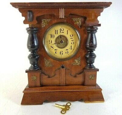 Antique Junghans Table Musical Alarm Clock Bracket 18th 19th century Wood Mantle