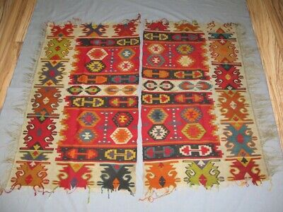 Antique Old Handwoven Pirot Kilim Carpet Rug 2 pcs