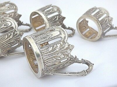 Wmf Art Nouveau Sterling Silver Toddy Glass Holders With Handles Set Of 5 Marked
