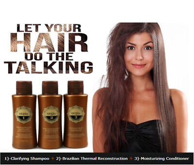 Keraplex BRAZILIAN KERATIN TREATMENT BLOW DRY HAIR STRAIGHTENING 3x110ml KIT