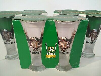 NRL Beer Glasses 6x Northern Eagles Aka Manly Sea Eagles 2000era