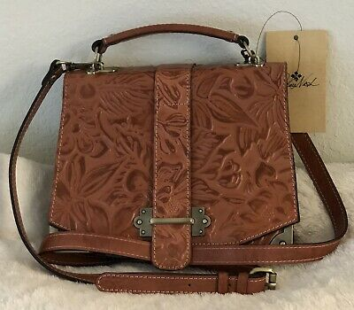 Patricia Nash Spring Floral Tooling Stella Dusty Rose Leather Messenger Bag NWT
