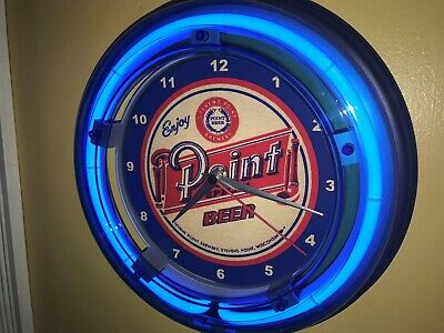 Stevens Point Wisconsin Beer Bar Tavern Man Cave Blue Neon Wall Clock Sign