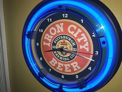 Iron City Beer Bar Tavern Man Cave Blue Neon Wall Clock Sign2