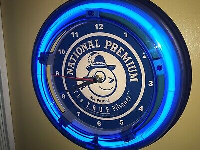 National Premium Mr. Pilsener Beer Bar Tavern Man Cave Blue Neon Wall Clock Sign
