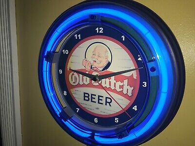 Old Dutch Beer Bar Tavern Man Cave Advertising Blue Neon Wall Clock Sign