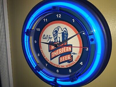 All American Beer Bar Tavern Man Cave Advertising Blue Neon Wall Clock Sign