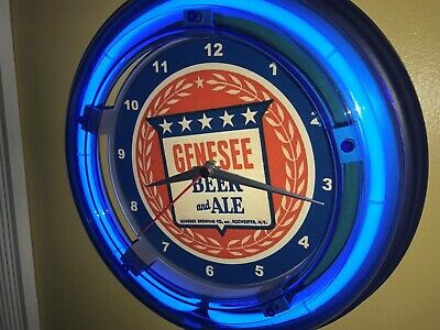 Genesee Beer Bar Man Cave Advertising Blue Neon Wall Clock Sign2