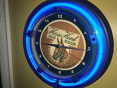 Horse Head Ale Beer Bar Man Cave Advertising Blue Neon Wall Clock Sign