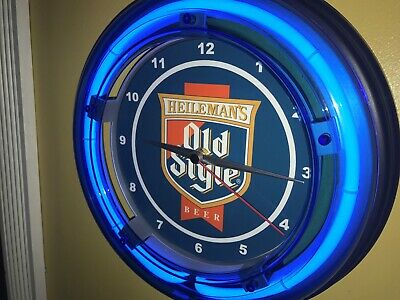 Old Style Heileman Beer Bar Man Cave Advertising Blue Neon Wall Clock Sign